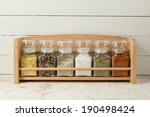 Spices On Wooden Shelf