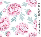 pink peony flowers with leaves...   Shutterstock .eps vector #1905031129