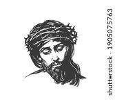 jesus christ  graphic portrait. ...   Shutterstock .eps vector #1905075763
