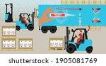 forklift trucks loads the cargo ... | Shutterstock .eps vector #1905081769
