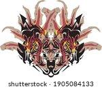carnival ornate cat or tiger... | Shutterstock .eps vector #1905084133