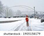 During A Snowstrom  A Man...