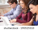 group of students using a... | Shutterstock . vector #190525310