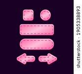 set of game ui glossy pink...