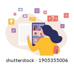 woman having conference call in ... | Shutterstock .eps vector #1905355006
