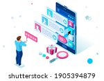person on smartphone chatting...   Shutterstock .eps vector #1905394879