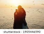 Silhouette Of A Young Couple In ...