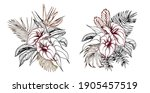tropical bouquets with palm...   Shutterstock .eps vector #1905457519