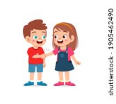 cute little kid boy do hand... | Shutterstock .eps vector #1905462490
