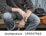 young man sitting wearing jeans ... | Shutterstock . vector #190547963