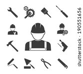 construction worker icons ... | Shutterstock .eps vector #190551656