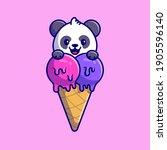 cute panda with ice cream cone... | Shutterstock .eps vector #1905596140