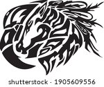 tribal unusual horse and eagle... | Shutterstock .eps vector #1905609556