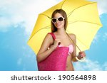 woman in summer holidays with... | Shutterstock . vector #190564898