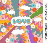 sixties retro hippie style...   Shutterstock .eps vector #1905657223