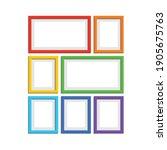 set of photo frames in rainbow...   Shutterstock .eps vector #1905675763