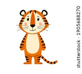 cute cartoon striped red tiger. ... | Shutterstock .eps vector #1905688270