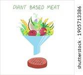 vegan sources of protein. plant ... | Shutterstock .eps vector #1905713386