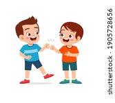 cute little kid boy do bro fist ... | Shutterstock .eps vector #1905728656