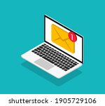 email message on screen in... | Shutterstock .eps vector #1905729106