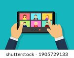 video conference with people... | Shutterstock .eps vector #1905729133