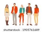 set of young men and women ... | Shutterstock .eps vector #1905761689