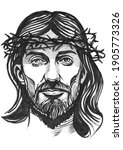 jesus christ graphic portrait.... | Shutterstock . vector #1905773326