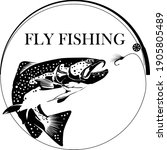 fly fisherman fishing.graphic... | Shutterstock .eps vector #1905805489