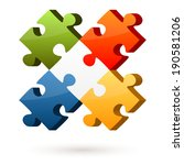 3d puzzle   4 options with... | Shutterstock .eps vector #190581206