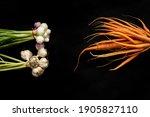Bundles Of Garlic  Carrots  And ...
