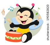 baby bee beating floor drum in... | Shutterstock .eps vector #190582820