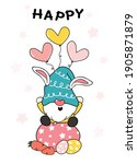 Cute Bunny Gnome Sit On Easter...