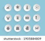 christmas vector icons on round ...