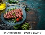 Cooked Juicy Tuna Steak With...