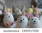Cute White Bunnies With Pink...