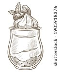 dessert served in glass cup...   Shutterstock .eps vector #1905918376