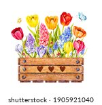 Watercolor Wooden Box With...