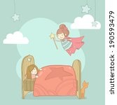 Stock vector vector cute girl sleeping in her bed and tooth fairy 190593479