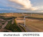 Aerial View Of Wind Turbines...