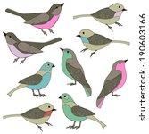 hand drawn birds clip art   Shutterstock .eps vector #190603166