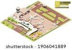 vector isometric airport... | Shutterstock .eps vector #1906041889