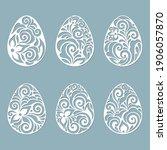 leaves  flowers  carved in egg. ... | Shutterstock .eps vector #1906057870