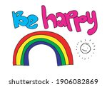 be happy  for a hand drawn t...   Shutterstock .eps vector #1906082869