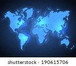 pixel world map with spot lights | Shutterstock .eps vector #190615706