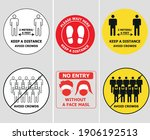 covid 19 signs keep distance no ... | Shutterstock .eps vector #1906192513