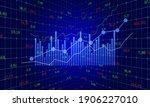 blue color business graph chart ... | Shutterstock .eps vector #1906227010