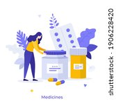 patient and pills or meds in... | Shutterstock .eps vector #1906228420