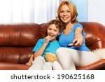 happy mother and child sitting... | Shutterstock . vector #190625168