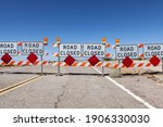 highway road closed signs and... | Shutterstock . vector #1906330030