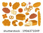 bread flat icon set. simple... | Shutterstock .eps vector #1906371049